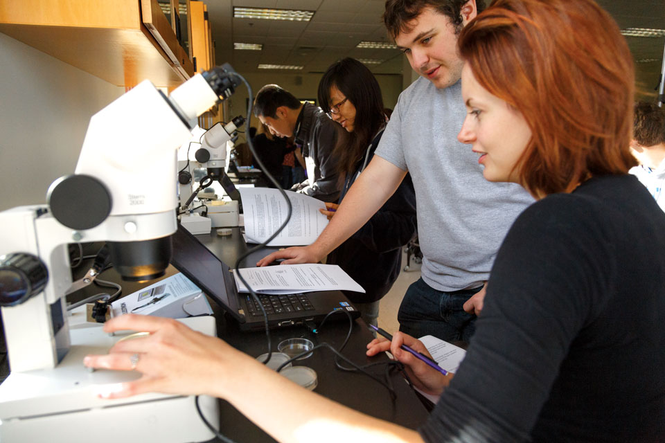 Rensselaer Students working at a microscope